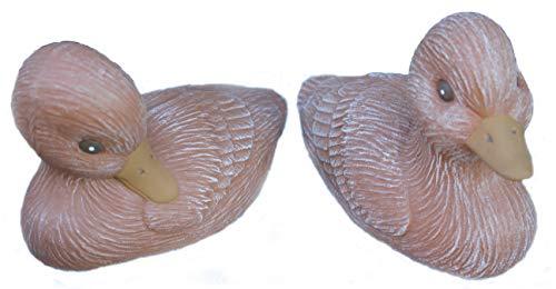 Steinfigur Ente 2er Set 118/3, 119/3, Gartenfigur Steinguss Tierfigur Terrakotta Patina
