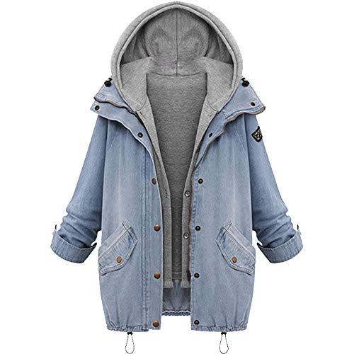 Aiserkly - Juego de chamarra con capucha para mujer, talla grande, manga larga, chaleco vaquero sin mangas con capucha, 2 piezas, chaqueta de invierno cálida,chaquetas cortavientos 4XL