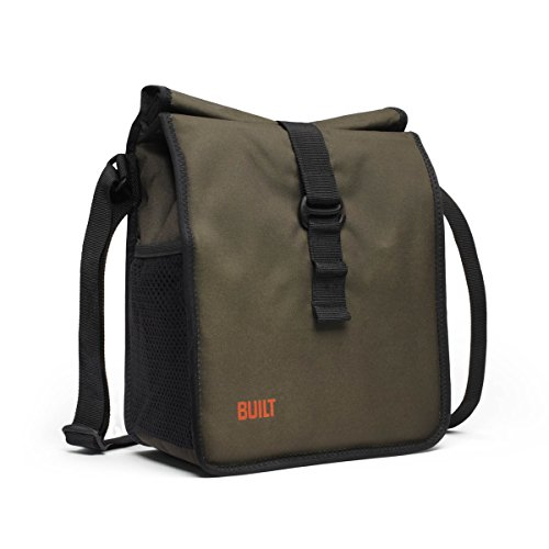 BUILT Crosstown Stain Resistant Insulated Lunch Bag with Adjustable Shoulder Strap Olive LBM02-OLV