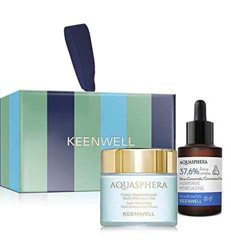 Keenwell, Pack Aquasphera Crema Superhidratante Multi-protectora Día + Sérum Concentrado Hidratante 37,6% Active Complex.