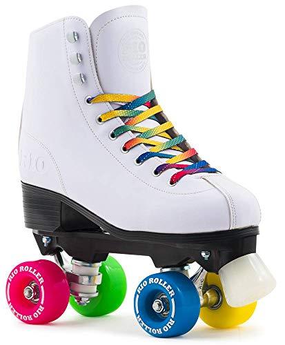 Rio Roller Figure Quad Skates,weiß  - rosa - blau - grün,40.5