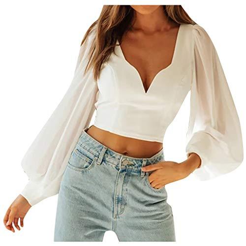 IHEHUA T-Shirt Damen Sommer Bauchfrei V-Ausschnitt Crop Tops Oberteile Bluse Neckholder Bandeau Elastischen Sweatshirt Sexy Party Wrap Oberteil (Weiß,L)
