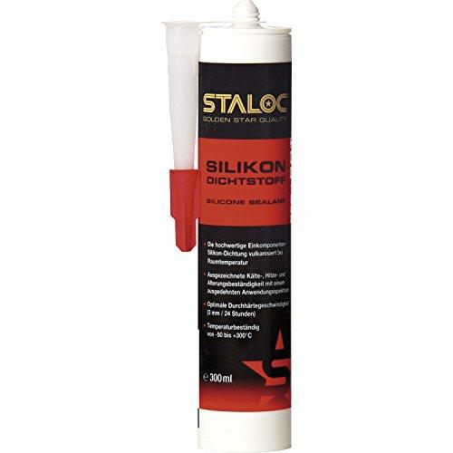 STALOC Hochtemperatur-Silikon-Dichtstoff | rot | Qualitäts-Silikon für den Heizungs- und Motorenbau | 300 ml Kartusche