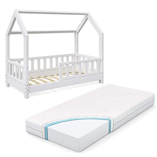 VitaliSpa Kinderbett Hausbett Wiki 70x140cm weiß Kinder Bett Holz Haus Schlafen Hausbett Spielbett Inkl. Lattenrost und Zaun Fallschutzgitter und Matratze