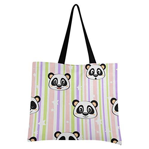 XIXIXIKO - Bolsa de lona ligera con diseño de panda, diseño de rayas, para mujer, niña, compras, gimnasio, playa, viajes, diario