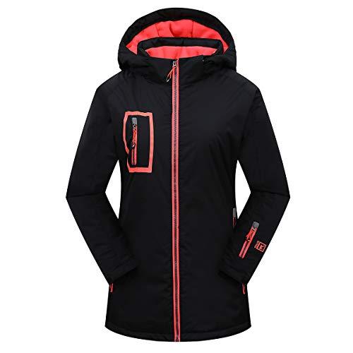 Victrax Women's Waterproof Ski Jacket Warm Windproof Hooded Snowboard Jacket Black2 S