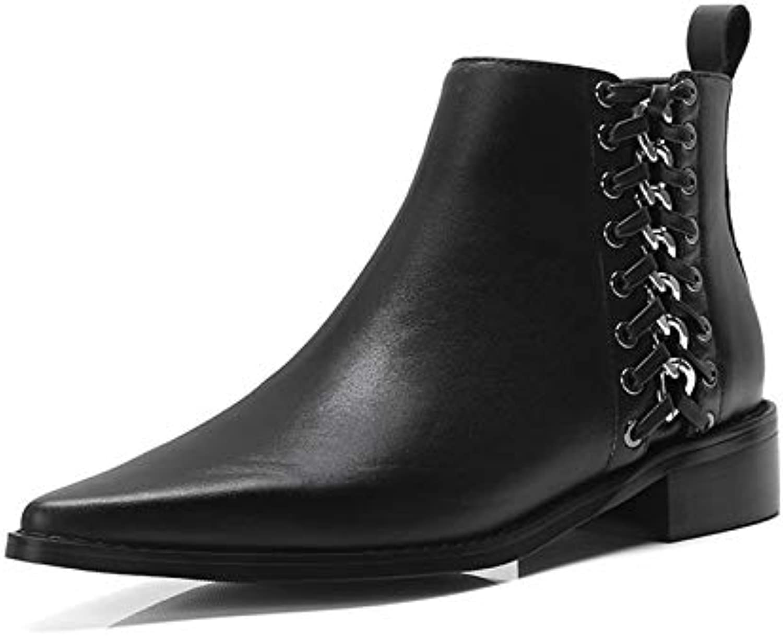 MENGLTX High Heels Sandalen Mode Frauen Stiefeletten Herbst Winter Warme Echtes Leder Quadratische Abstze Schuhe Frau Metall Dekoration Motorradstiefel