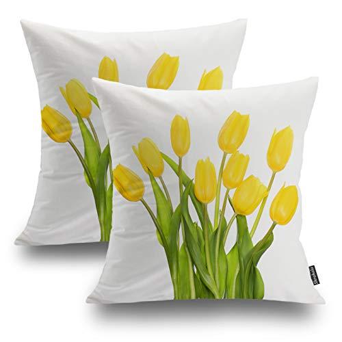 Shrahala Kissenbezug mit Blumenmuster, dekorativ, Frühlingsgelb Tulpen-Kissenbezug, für Sofa, Schlafzimmer, Auto, quadratisch, 45,7 x 45,7 cm, Gelb, 2 Stück