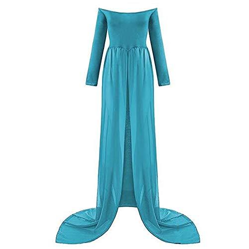 TrivingTech Sexy Schwangerschafts Kleid, Chiffon Fotografie Rock, Mutterschaft Foto Shoot Kleidung (Long Sleeve Blau 1)