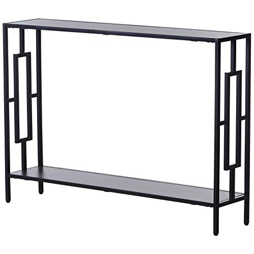 HOMCOM Steel Frame MDF Console Table Home Furniture Hallway Entrance 2 Shelves 76x106cm Art Deco Square Style
