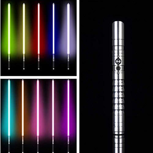 Star Wars Sable de luz – Metal aluminio Hilt Force Fx Lightssable con 11 colores cambiantes LED espadas láser recargables para adultos Sboy niñas niños Cosplay (dorado), plata (plata)