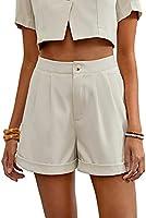DIDK Damen Einfarbig Shorts Breite Beins Sommer Büroshorts Kurz Hose Hohe Taille Bermuda-Shorts mit Reißverschluss