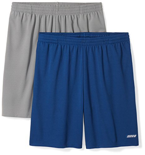 Amazon Essentials Men's 2-Pack Loose-Fit Performance Shorts, Medium Grey/Navy, X-Large