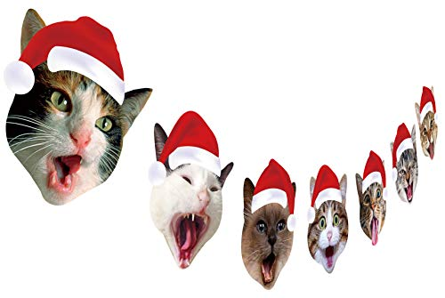 Cat Christmas Garland, Cat Face Christmas Hanging Decorations, Xmas Gift for Cat Lover