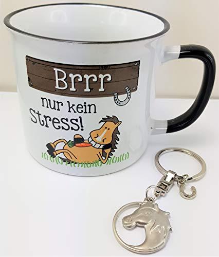 Ponyhof Reitertasse Pferdetasse mit Schlüsselanhänger Pferd
