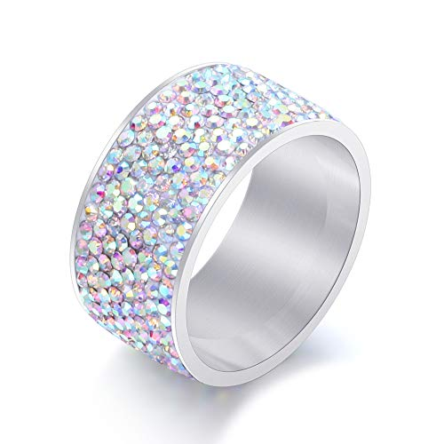 BVGA Anillo de acero de titanio con diamante de acero inoxidable de color 12 + anillo de diamante AB para mujeres, niñas, hermanas, amigas, regalo significativo de joyería