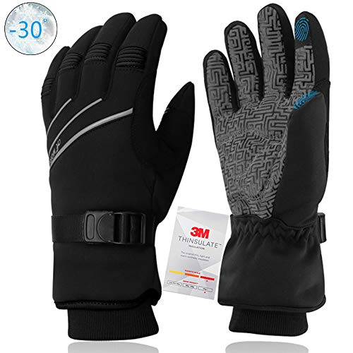 MOREOK Winter Gloves,Waterproof & Windproof Thermal Gloves -30°F 3M Thinsulate Touch Screen Warm Glove or Driving Cycling Running Outdoor Sports Unisex Black-XL