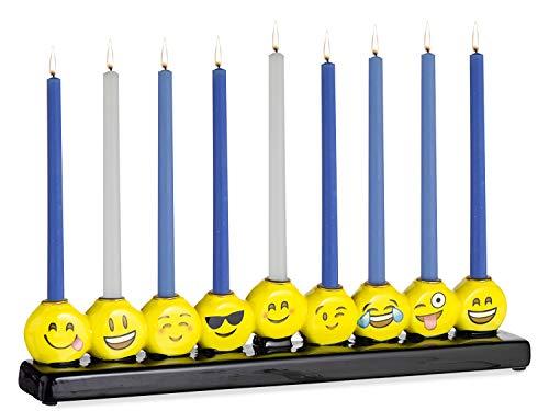 Rite Lite Emoji Hand-Painted Ceramic Chanukah Menorah 10.75' - Hanukkah Menorah