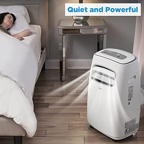 MIDEA MAP14S1CWT 3-in-1 Portable Air Conditioner, Dehumidifier, Fan, for Rooms up to 330 sq ft Enabled, 14,000 BTU DOE (8,200 BTU SACC) control with Remote, Smartphone or Alexa