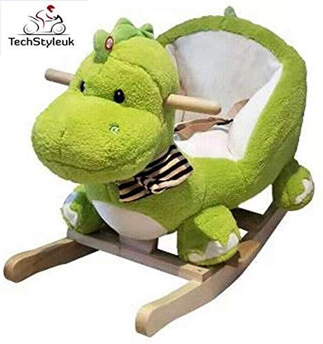 Techstyleuk Children's Rocking Horse Rocker Animal Toy For Kids Wooden With Music Great Gift Sound Fun Rider Toddler (Dinosaur. (60 x 32 x 51 cm))