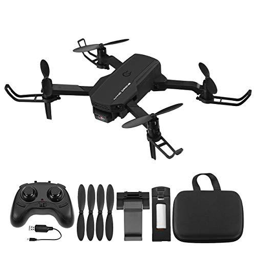 Powerextra Mini Drone para Niños con Cámara - RC Helicopter Quadcopter 2.4GHz Modo sin Cabeza-Drones Control Remoto por WiFi App- Flips 3D y Función de Giro de Alta Velocidad - 2 x Baterías(Negro)