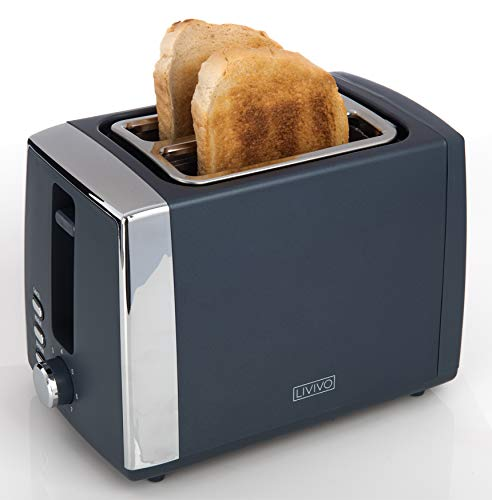 LIVIVO Arian 2 Slice Toaster Matt Finish with Extra Wide Slots - 7 Browning Bread Toast Settings - Reheat Defrost & Cancel Functions? Removable Slide On Crumb Tray
