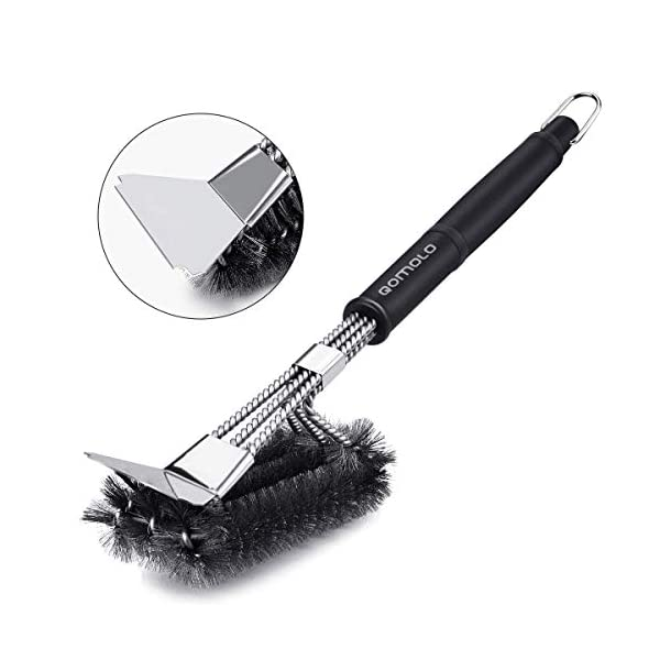 Qomolo Grill Brush 3 in 1 BBQ Grill Brush with Strong Stainless Steel Scraper Grill Cleaning Brush for Charcoal Electric… 1