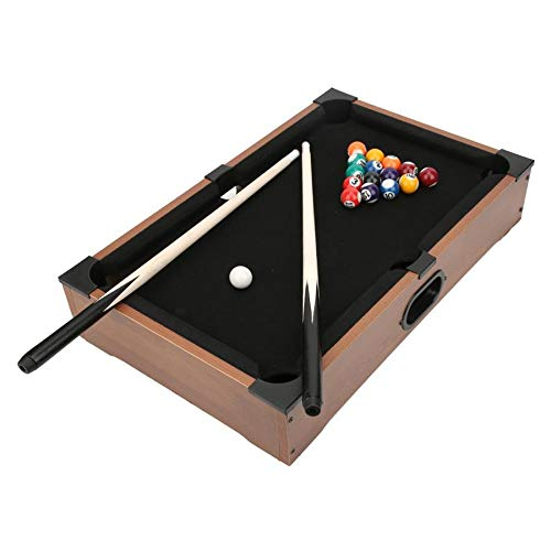 WAGX Mini Table Top Pool, Holz Mini-Pool Table & Billiard Set - mit 16 Harzkugeln, 2 Queuen, Dreieck Rack & Chalk - für Büro-Schreibtisch-Spiele, Home Use