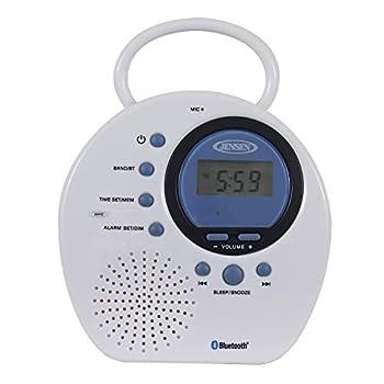 Jensen JWM-160 Water-Resistant Digital AM/FM Bluetooth Shower Clock Radio Blue