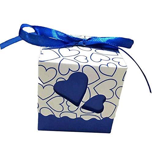 Sukisuki 12 stks liefde hart snoep doos geschenkzak bruiloft vakantie partij papier snoep geschenken container Donkerblauw
