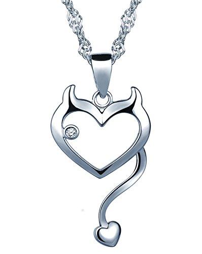 Unendlich U Modisch Katze Kätzchen Herz Damen Mädchen Halskette 925 Sterling Silber Zirkonia Anhänger Kette mit Anhänger, Silber