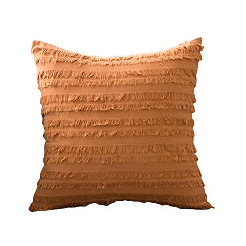 YOKING - Almohada de algodón y lino de estilo bohemio naranja, bonita almohada pompón, utilizada en la habitación, salón, comedor, cama, sofá