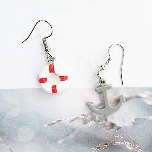 QQSS Handgemachte Kreative Meer Wind Boot Rettungsring Anker Asymmetrische Weibliche Ohrring Feine Und Modische Schmuck Party Geschenke