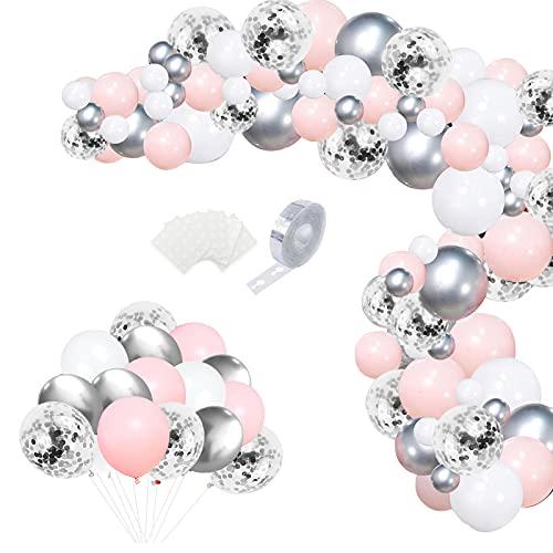 Kit Arco Palloncini Rosa Bianchi Argento 100 pezzi Kit Ghirlanda Palloncini Elio Pastello Palloncino con 5m Strisce Colla Punti per Bambina Compleanno Matrimonio Battesimo Baby Shower Deco Feste