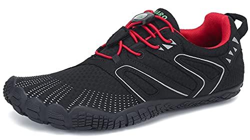 SAGUARO Barfuß Trail Laufschuhe Männer Frauen Fahrradschuhe barfussschuhe Weich Bequem Fitnessschuhe Trainingsschuhe Für Joggen Laufen Wandern(059 Rot, 43 EU)