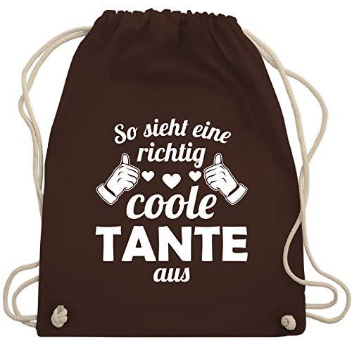 Shirtracer Schwester & Tante - So sieht eine richtig coole Tante aus - Unisize - Braun - Spruch - WM110 - Turnbeutel und Stoffbeutel aus Baumwolle
