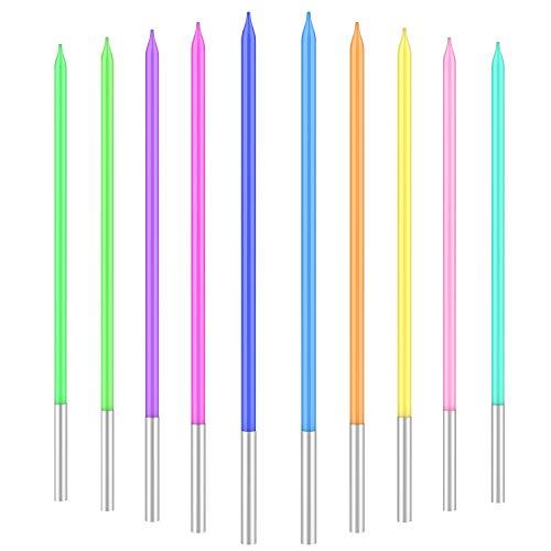 Velas Cumpleaños De Colores 20 PCS, Vela Cumpleaños De Pastel Metálicas Para Pasteles Con Soporte, Velas Largas Y Finas Para Fiestas, Suministros De Decoración De Pasteles De Cumpleaños Para Bodas
