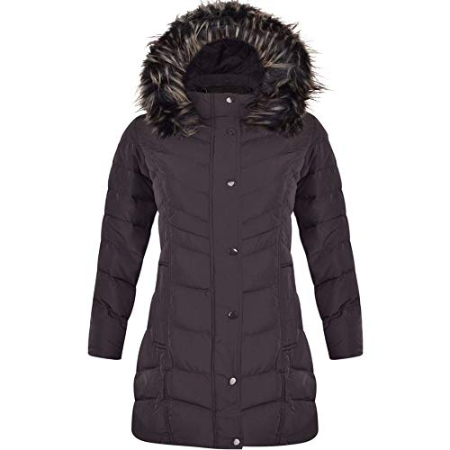 Spindle Womens Long Chevron Quilted Padded Winter Coat Jacket Fur Parka Zip Pockets UK 14 / Large Black