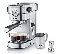 """SEVERIN Espressomaschine """"Espresa Plus"""", Siebträgermaschine mit 3 Einsätzen, Kaffeemaschine mit Milchschäumer und Manometer, inkl. Barista-Starterset, Edelstahl-gebürstet/schwarz, KA 5995"""