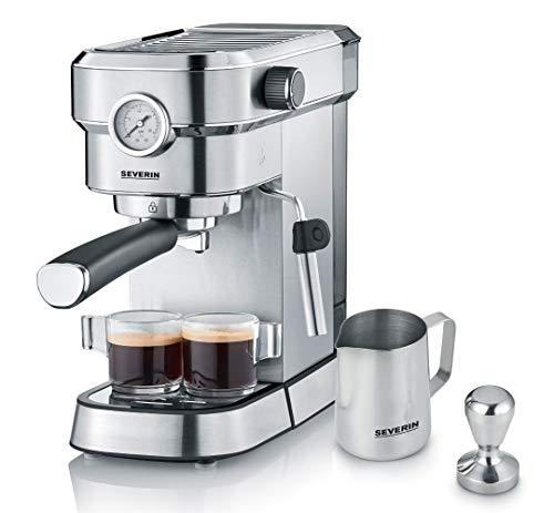 """SEVERIN Espressomaschine \""""Espresa Plus\"""", Siebträgermaschine mit 3 Einsätzen, Kaffeemaschine mit Milchschäumer und Manometer, inkl. Barista-Starterset, Edelstahl-gebürstet/schwarz, KA 5995"""