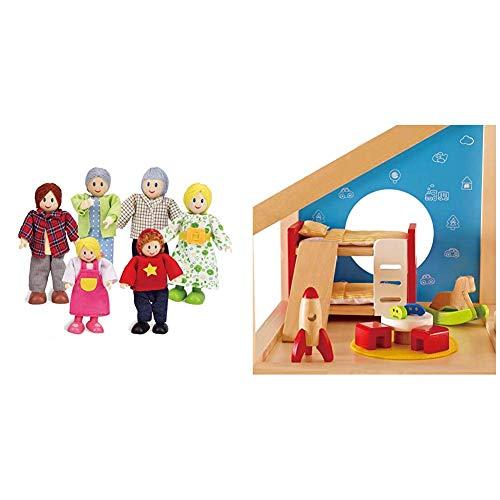 Hape E3500 - Puppenfamilie, helle Haut & E3456 - Kinderzimmer