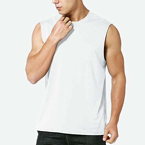 MEETYOO Tank Top Herren, Achselshirts Sport Ärmelloses Shirt Unterhemd Fitness Sleeveless Tshirt für Running Jogging Gym (Weiß, M)