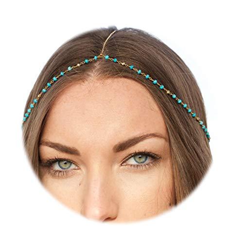 ANAZOZ Schmuck Stirn Kette Stirnband Vergoldet Perle Haarkette Stirnband Kopfkette Haarband Silber Türkis Kopf-Kette für Frauen