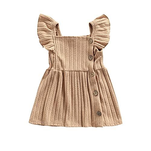 Paxlahby Vestido de princesa para niñas pequeñas, de algodón de color sólido, cuello cuadrado, manga de mosca, caqui, 6 mes