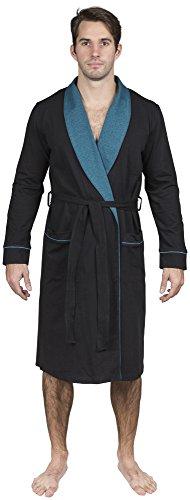 Yugo Sport Mens Robe Cotton Knit Lightweight - Men's Kimono Wrap Robe (XL-XXL, Black & Steel Blue Trim)