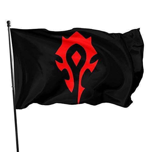 wanghaifengzA Decoración de jardín de Banderas de casa de Banner Interior al Aire Libre World of Warcraft Horde Popular Flag Vivid Color and UV Fade Resistant with Brass Grommets 3x5'' Flag