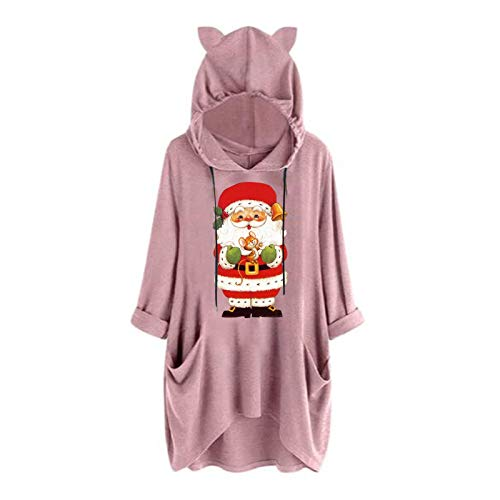 Dosoop Womens Christmas Hoodie Sweatshirts Casual Tunic Tops Hooded Long Sleeve Santa Claus Print T Shirts with Pockets