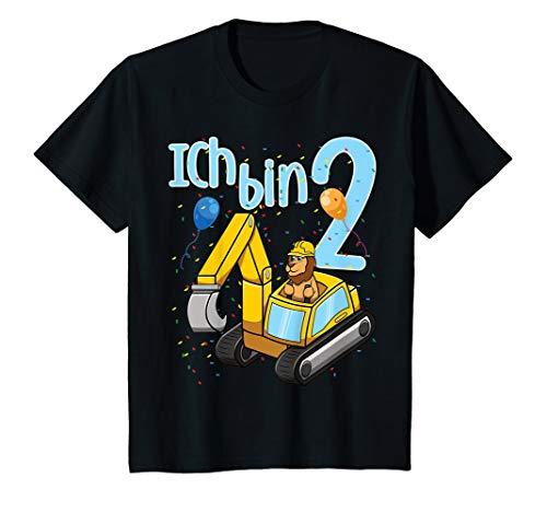 Kinder Ich Bin Zwei 2 Jahre Zweiter 2. Geburtstag Bagger Löwe T-Shirt