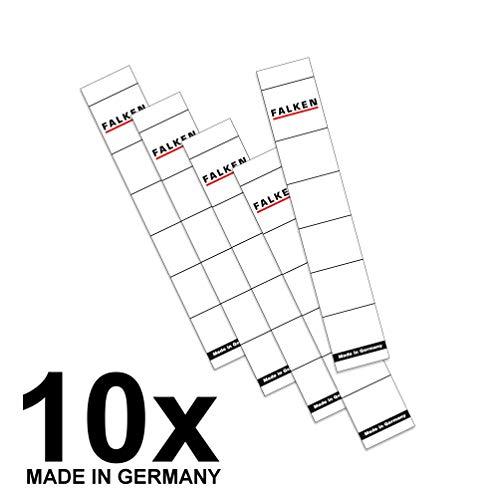 Original Falken 10er Pack Ordner-Rückenschild. Made in Germany. Etiketten 30 x 190 mm zum Einstecken für 5 cm schmale Ordner weiß