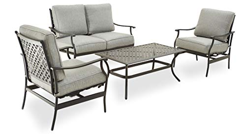 PatioFestival Patio Conversation Set 4-Piece Cushioned Outdoor Furniture Sets with All Weather Frame for Porch Backyard Lawn